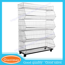 Elegant Customized snacks metal wire display rack with wheels