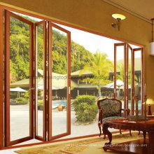 Дизайн-отель терморазрывом алюминиевые двери Складчатости с двуспальная застеклен (М-Д75)