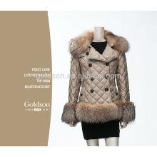 Fashional OEM Mulheres Goose Down Jacket / Fox Fur Down Coat para o inverno