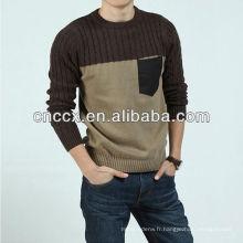 12STC0686 câble tricot lâche chandail de sport pour hommes