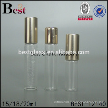 Emballage cosmétique de haute qualité tube transparent rouleau de verre rouleau sur flacon de parfum avec bouchon d'or meilleures ventes alibaba chine
