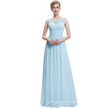 Starzz 2016 sin mangas V-Back luz azul largo vestido de fiesta de gasa barata ST000061-5