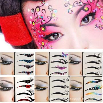 Vente chaude mode visage Art beauté équipement Eye Eye Art autocollants repositionnables