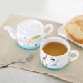 té de cerámica de diseño recto para una venta al por mayor con círculo de silicona
