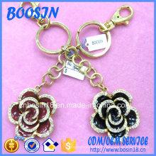 Porte-clés pendentif fleur en émail bon marché personnalisé