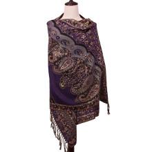 Echarpe d'épaule féminine Pashmina Écharpe à la mode de motif de fleurs unies
