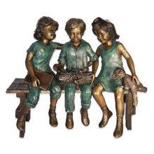 grandes sculptures en plein air artisanat en métal bronze enfants assis sur un banc pour le jardin