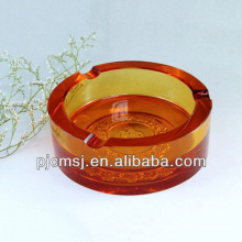 2015 Beautiful Amber Color Crystal Ashtray for Office Decration crystal cigar ashray