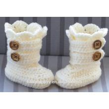 Baby Taufhandgefertigte Häkelarbeit stricken weiße Neugeborene Stiefel Schuhe Großhandel