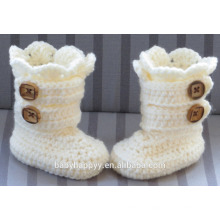 Baby Christening Handmade Crochet Knit White Newborn Boots Shoes Wholesale