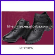 SR-14WY002 neue echte Leder Frauen Ballsaal Tanz Schuhe billig Mode Damen Salsa Tanz Schuhe schwarz stilvolle Tanzschuhe für Mädchen