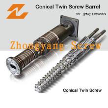 Nuevo diseño bimetálico PVC Twin Conical Screw & Barrel