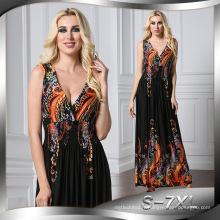 Mode imprimé Premium qualité polyester longue sans manches femme Casual robe sexy