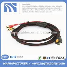 La calidad superior AVI a la red Nylon del cable de HDMI 1.5M