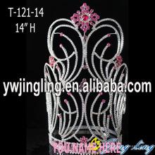 Großhandel große Strass rosa Schneeflocke Pageant Krone