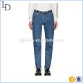 Pantalones vaqueros clásicos azules lavados deporte pantalones vaqueros flacos de alta calidad pantalones vaqueros