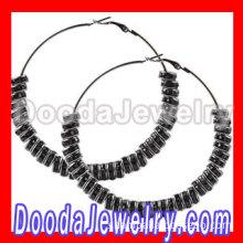 70mm Basketball Wives Hoop Black Crystal Spacer Beads Earrings Supplies