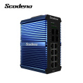 Conmutador de red industrial Scodeno IP50 con carril DIN, 4 SFP, 8 puertos, conmutador Gigabit Ethernet, conmutador Lan para exteriores