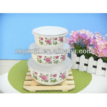 5pcs enamel storage bowl sets with PP lid
