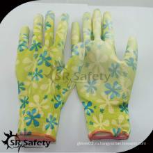 SRSAFETY 13G pu садоводство перчатка / сельскохозяйственные рабочие защитные перчатки / перчатки с покрытием pu