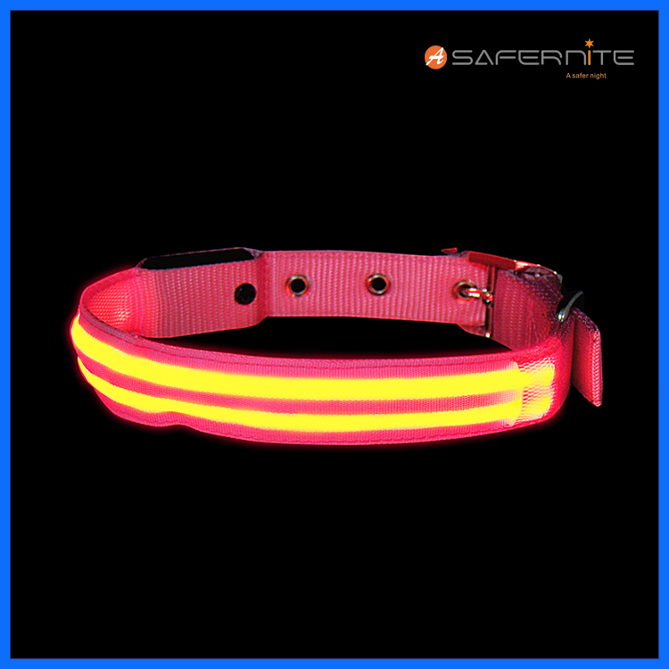 Dual Fiber Led Light Up Lighted Dog Collar