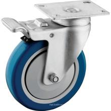 Roulettes de roues en polyuréthane à service moyen avec frein complet