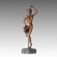 Nackte Statue Bikini Dame Thalia Bronze Skulptur, Milo TPE-249