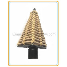 Triangle rattan rideau tige finials, rideau de fenêtre design pour la décoration d'intérieur de maison avec des poteaux finials