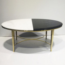 Ellipsoid Marble Top Stainless Steel Coffee Table