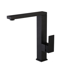 02282B Single Handle Black Color Square Hot Cold Water Sink Kitchen Faucet