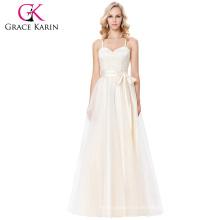 Grace Karin Spaghetti Straps Cruz de espalda Champagne Voile vestido de fiesta vestido de baile 8 Tamaño EE.UU. 2 ~ 16 GK000123-1