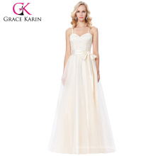 Grace Karin Spaghetti Straps Cross Back Champagne Voile Ball Gown Prom Dress 8 Size US 2~16 GK000123-1