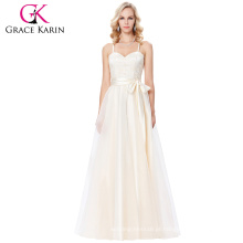 Grace Karin Spaghetti Straps Cross Back Champagne Voile Ball Gown Prom Dress 8 Tamanho US 2 ~ 16 GK000123-1