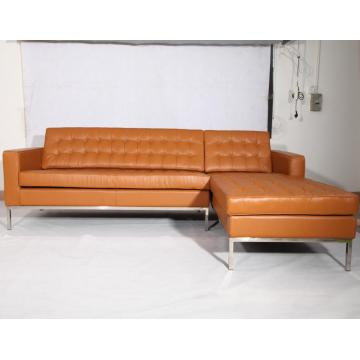 Brown Leather Florence Knoll Corner réplica de sofá