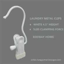 White Metal Non Slip Clip Clothes Laundry Hanger