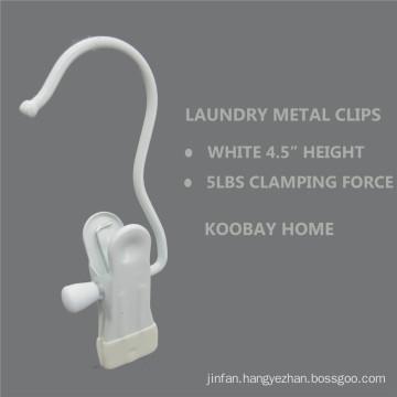 White Metal Non Slip Clip Clothes Laundry Hanger