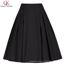 Grace Karin mujeres de color sólido de alta cosecha vintage retro A-línea de falda corta negro CL010451-1