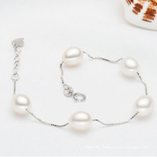 925sterling Silvr Chain with Top Quality Natural Pearl Bracelet