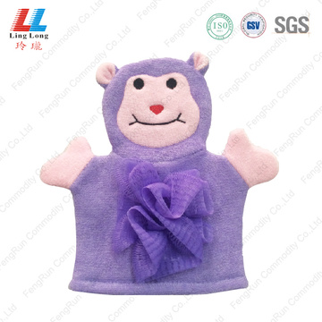 Purple animal children bath gloves shower