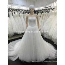 Wholesale Simple Design Strapless Lace-Up Back Tull Long Skirt Ivory A- line Cap Sleeve Bridal Dress Wedding Party Dress VW242-4