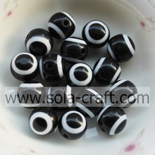 Top Quantity 12MM 500Pcs Black Evil Eye Gemstone Beads Wholesale Curtain Necelace Spacer Plain Round Synthetic Opal Beads