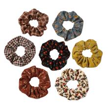 Corduroy Stripe Print Plaid Thick Scrunchies Autumn Winter Elastic Hair Band Rubber for Girl Women Bun Tie Hair Accessories