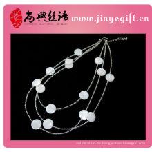 Neu weiße Muschel Perlen drei Strang Naturstein Halskette