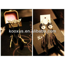2014 new style natural feather girlbox earrings