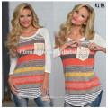 En gros femmes vêtements à manches longues col rond t-shirt impression stripe été coton mini lâche femmes T-shirt