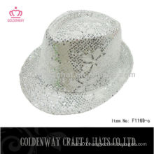 Fashion Silver Sequin Fedora Hat carnival hat top
