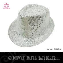 Fashion Silver Sequin Fedora Hat chapéu de festa de carnaval