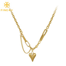 Stainless Steel PVD Gold Plated Dainty Heart Shaped Necklace Jewelry Valentines Day Gifts