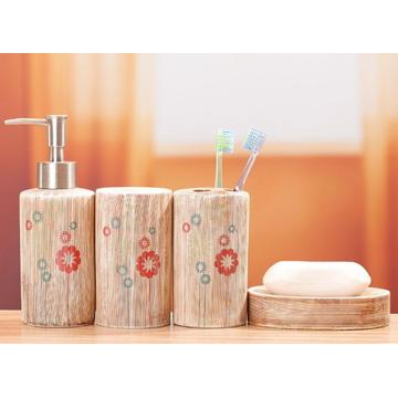 4 PC Of Wood Grain Ceramic Bath Set
