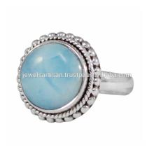 Schöner Larimar Edelstein 925 Sterling Silber Ring